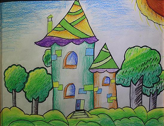 儿童画大树房子简笔画