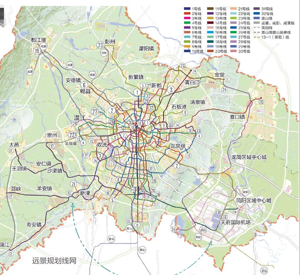 成都城市轨道交通远景规划39条线路