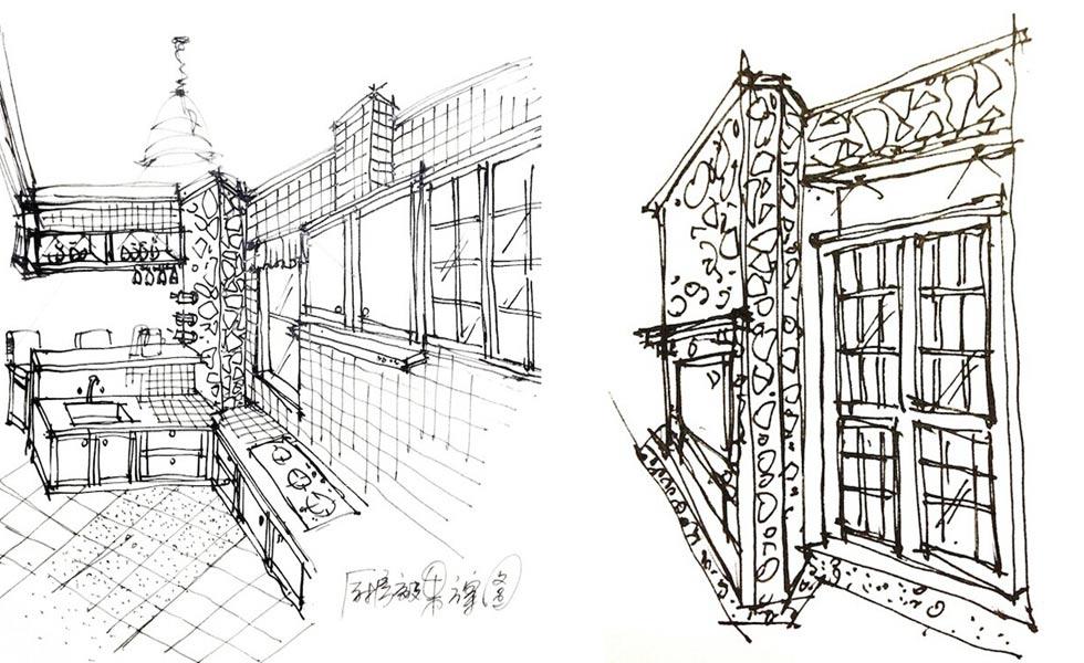 中餐厅家具手绘线稿