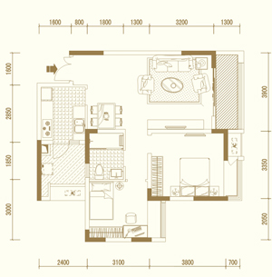 E1户型 两室两厅单卫 套内约67�O
