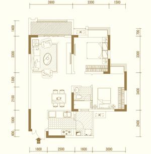 E2户型 两室两厅单卫 套内约68�O