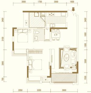 E3户型 两室两厅单卫 套内约69�O