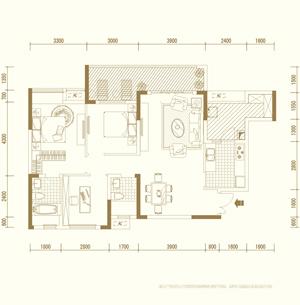 D2户型 三室两厅双卫 套内约90�O