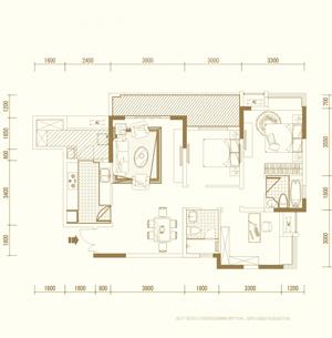 D3户型 三室两厅双卫 套内约91�O