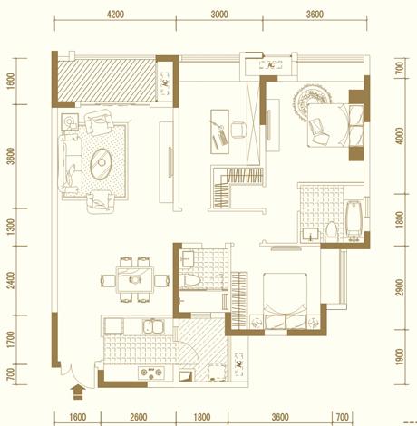 C1户型 三室两厅双卫 套内约97�O