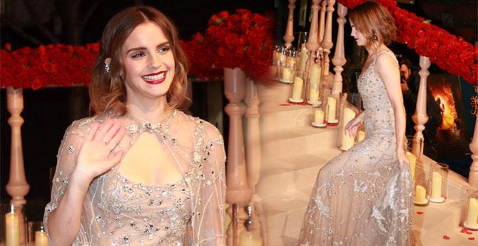 艾玛・沃森穿低胸裙秀性感 烈焰红唇太抢眼