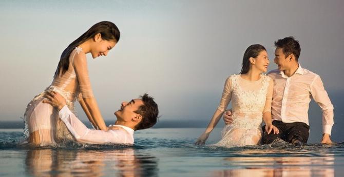 秦凯何姿水中拍婚纱照 美得无与伦比