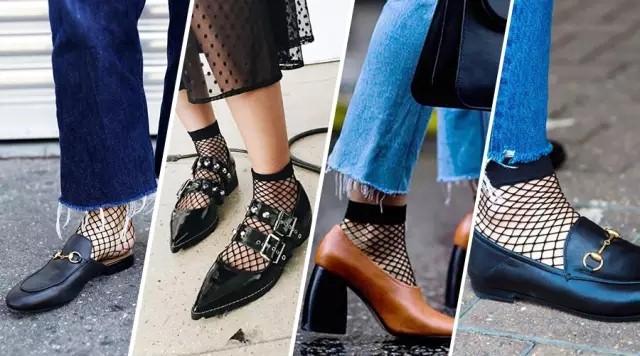 网袜和乐福鞋、皮拖鞋、粗跟奶奶鞋的搭配