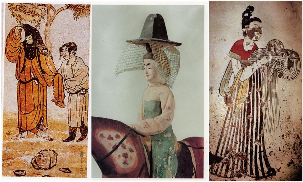 左:唐代屏风绘画《树下人物图》;中:新疆阿斯塔纳出土唐代彩绘骑马女俑;右:捧帷帽的宫女(唐燕国太妃墓壁画)
