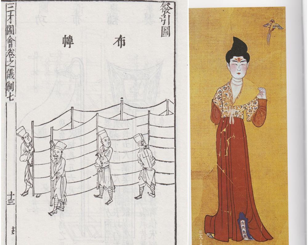 左:《三才图会》中展示的行障;右:新疆阿斯塔纳出土唐代屏风绢画《玉立美人》