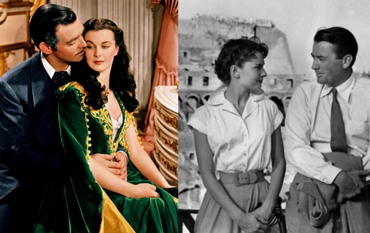 左:《乱世佳人》剧照 右:《罗马假日》剧照