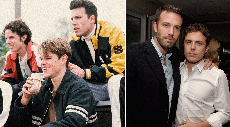 左:Casey Affleck、Ben Affleck共同出演《心灵捕手》剧照 右:Affleck兄弟合影