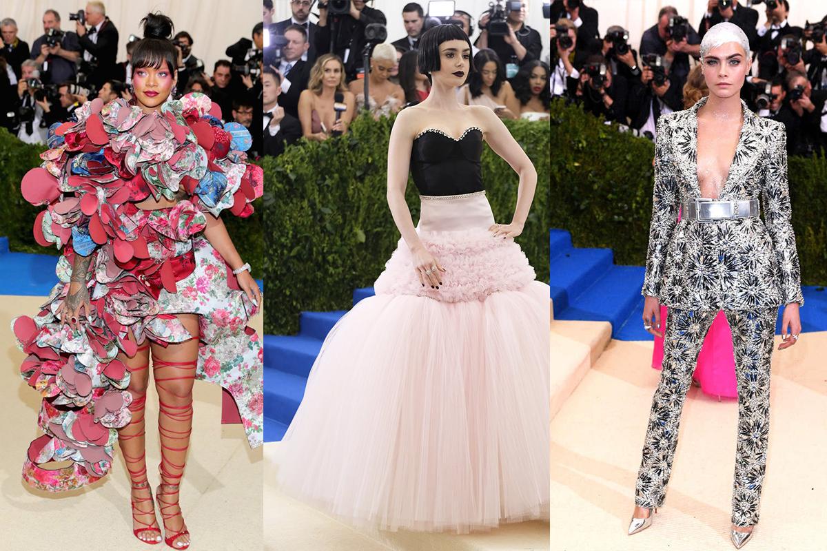 左:Rihanna 中:Lily Collins 右:Cara Delevingne