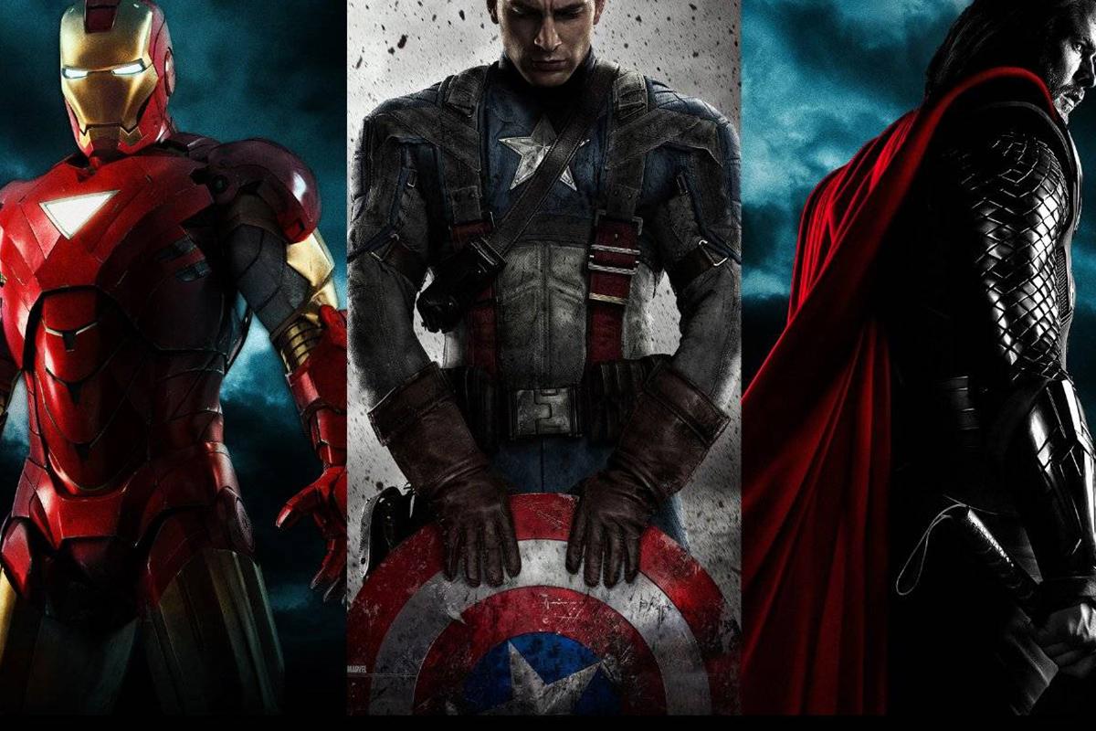 左:钢铁侠 中:美国队长 右:雷神
