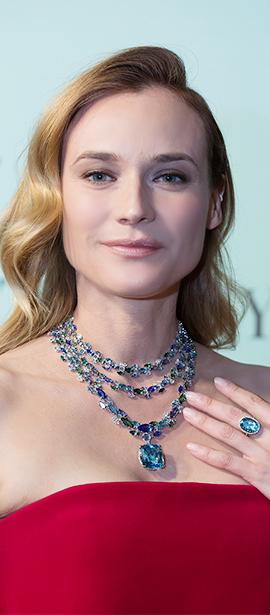 德国模特兼演员diane kruger佩戴铂金镶嵌海蓝宝石,坦桑石,绿碧玺及钻