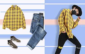 [男衣库]潮男都爱格子衬衫配牛仔提升品味