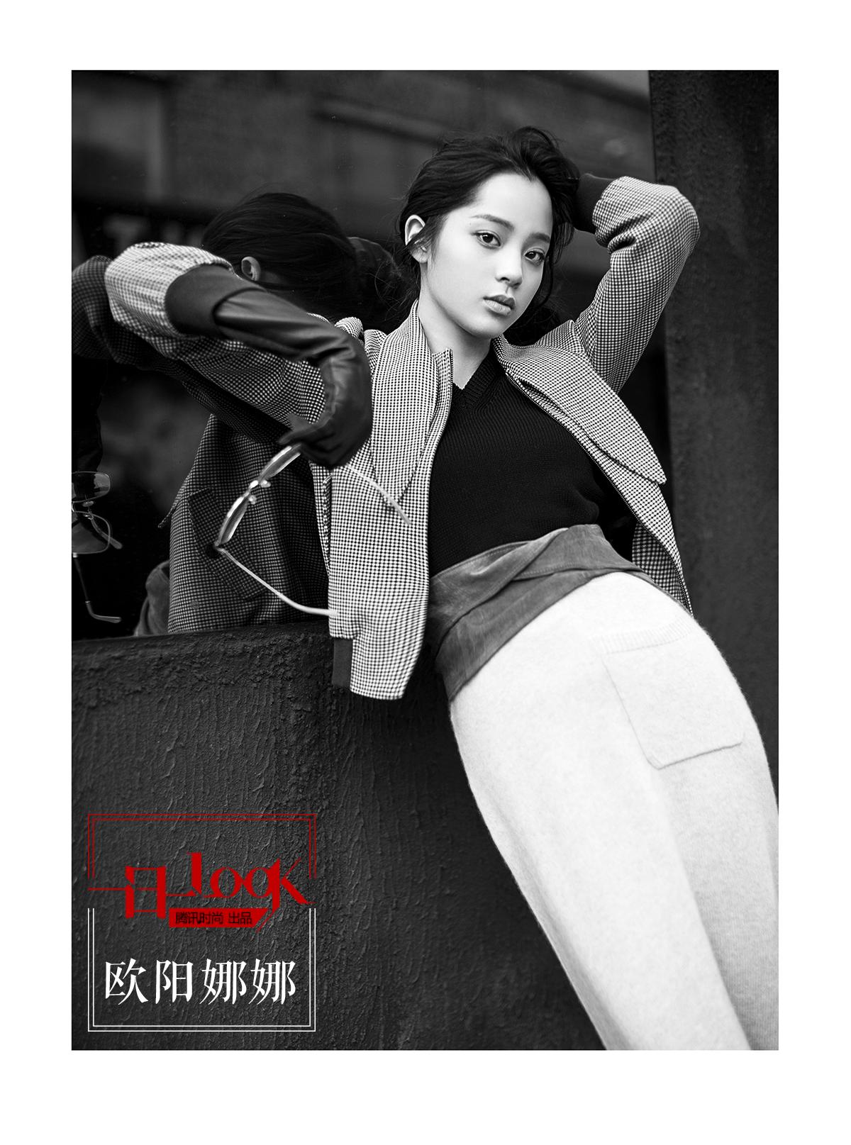一日一look 皮手套搭配格纹夹克 欧阳娜娜演绎不一样的复古摩登女郎