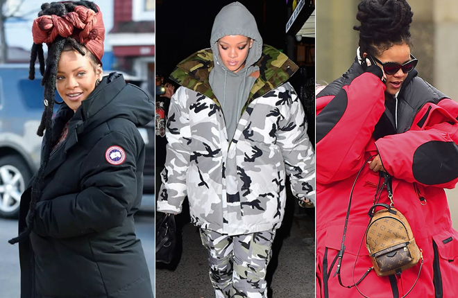 "Rihanna多次穿""加拿大鹅""出街"