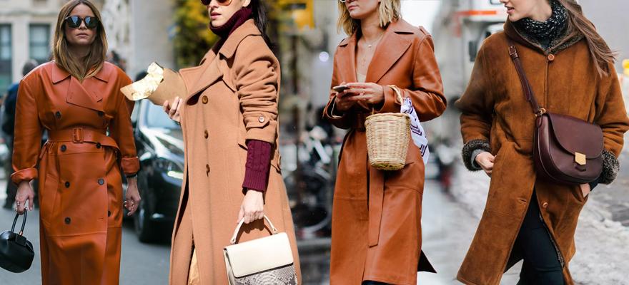 焦糖色大衣内敛含蓄甜而不腻,完美搭配呈现各种优雅姿态