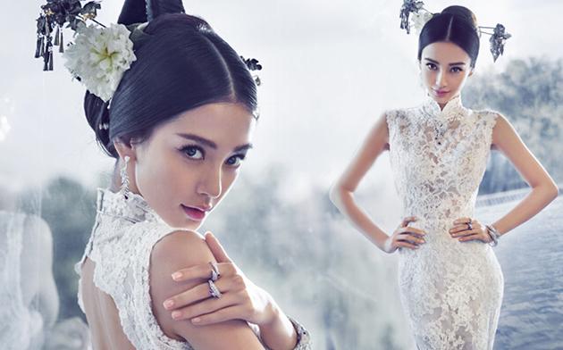 angelababy穿婚纱预演新娘
