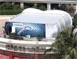 蓝天白云下博鳌主会场与腾讯演播室
