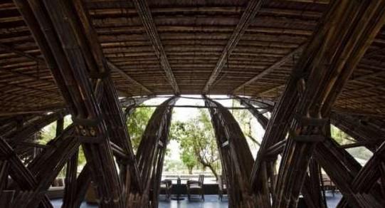 竹子架起的空间 越南河内竹结构建筑设计