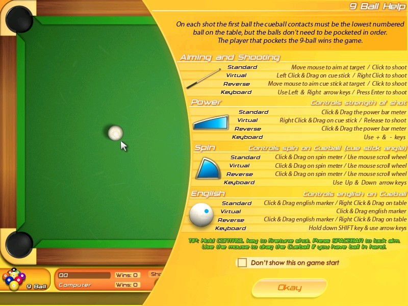 9-球等台球比赛.游戏可以使用反转撞球等高级台球技巧, 游