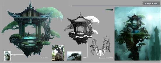 手绘游戏场景建筑模型