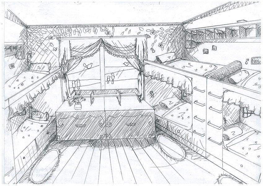 宿舍手绘图简笔画