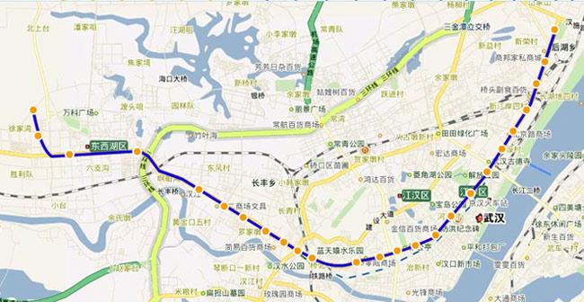 武汉轻轨一号线走向示意图