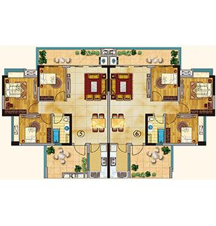 三房两厅平面设计图图片大全 求三房两厅一楼梯平面设计图 宽560×