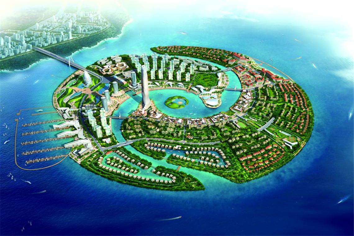 """双鱼岛 中国首个生态型人工岛 亚洲最大海水浴场""""碧海银滩项目"""",——项目对望面积2.2平方公里中国首个生态型人工岛-双鱼岛。位于东岛的亚洲最大海水浴场碧海银滩项目,占地面积8万平方米,整个水域面积有4万平方米,总投资约3.5亿元,还配有酒店泳池、海盗船、沙滩排球、钢琴会所、室外SPA、水中酒吧等诸多配套项目,将于2016年8月投入使用."""