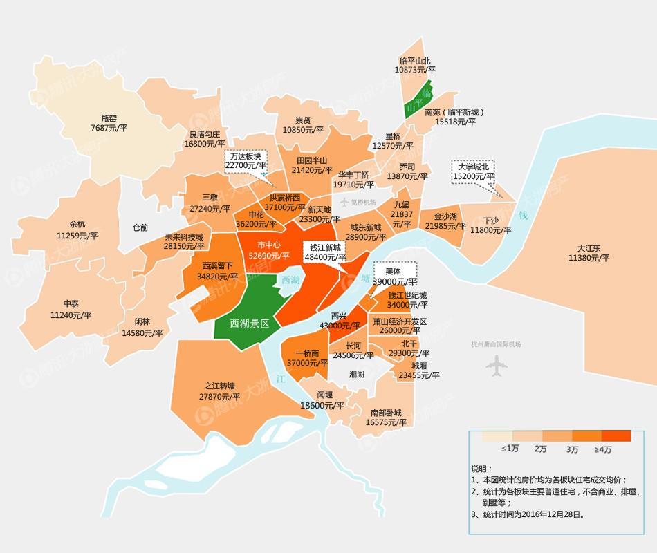 杭州最新房价图,三板块房价涨幅超过100图片