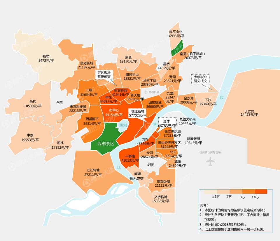 2018年01月杭州楼市板块房价地图