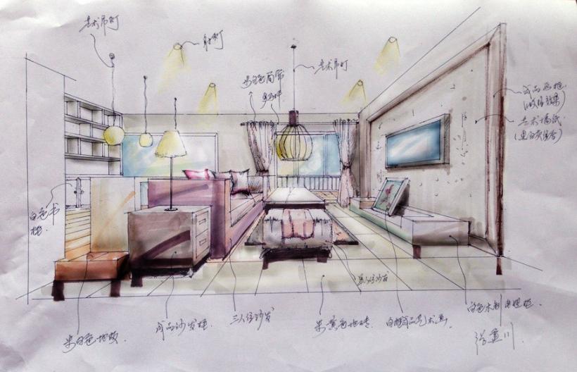 和达御观邸132方手绘效果图-客厅