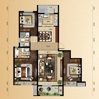 中海・天悦府110平3室2厅1卫户型