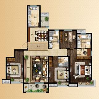 中海・天悦府114平3室2厅1卫户型