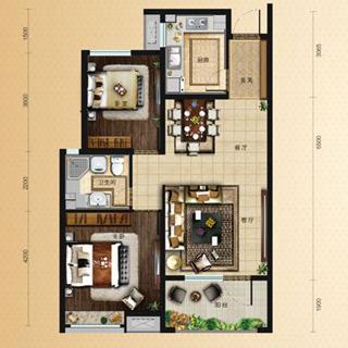 中海・天悦府85平2室2厅1卫户型