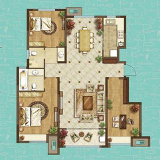 龙湖名景台123平3室2厅2卫户型