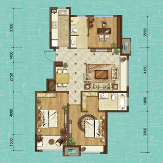 龙湖名景台108平3室2厅3卫户型