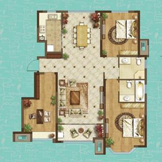 龙湖名景台130平3室2厅2卫户型