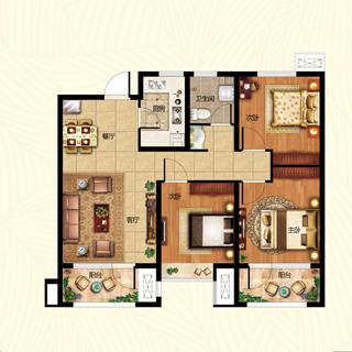 海尔・云世界105平3室2厅1卫B3户型
