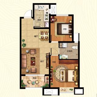 海尔・云世界84平2室2厅1卫A户型