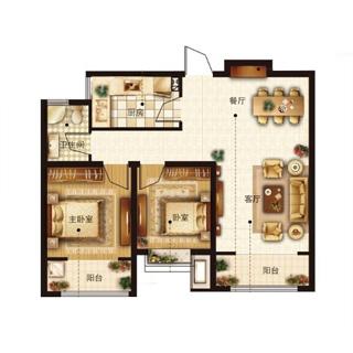 紫悦华庭 2室2厅1卫 户型图