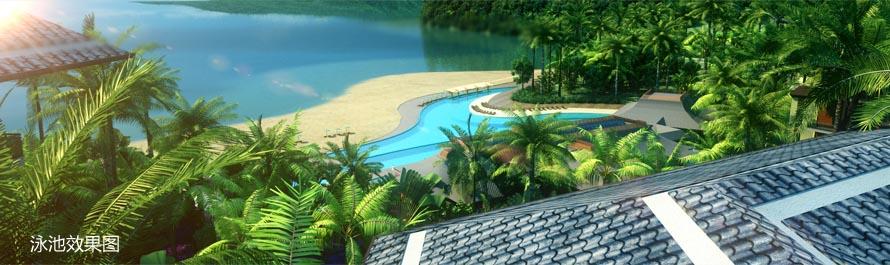 每栋建筑掩映于东南亚风格的园林