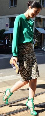 米兰时装周街拍豹纹裙