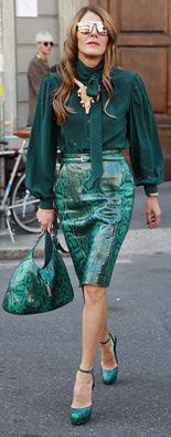 米兰时装周街拍印花裙