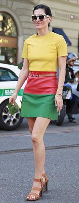 米兰时装周街拍色块裙