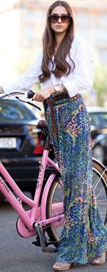 米兰时装周街拍印花裤