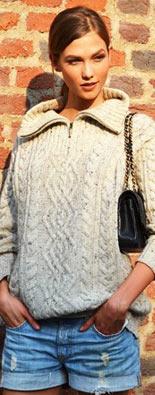 米兰时装周街拍棒针毛衣